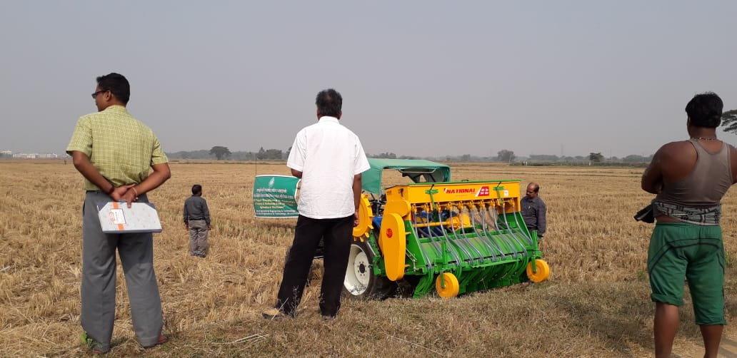 seed drill in operation