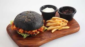 fast food with charcoal